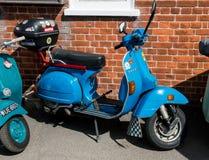 Vespa scooter blue classic mod stock image