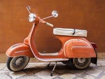 Vespa scooter on Corfu street, Greece stock photos