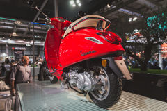 Vespa scooter on display at EICMA 2014 in Milan, Italy Stock Photos