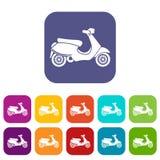 Vespa scooter icons set Stock Photo