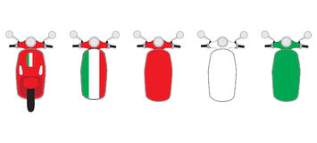 Vespa Scooter Illustration. Series of vespa inspired scooter illustrations vector illustration