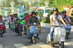 A vespa scooter parade by the youth on the street of Nha Trang city royalty free stock photos