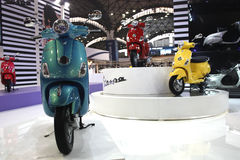 Vespa two wheeler on display at the Auto Expo 2012 Royalty Free Stock Photography