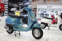 Vespa two wheeler on display at the Auto Expo 2012 Stock Photos