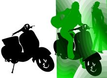 Vespa Vintage Style Silhouette. Silhouettes about young people mood Stock Images