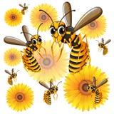 Vespas que voam em torno das flores amarelas ilustração do vetor