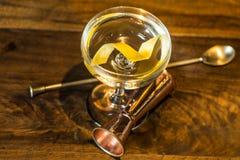 Vesper Martini 007. The Vesper or Vesper Martini is a cocktail that was originally made of gin, vodka, and Kina Lillet Stock Photo