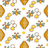 Vespiary and bees seamless vector outline pattern. Royalty Free Stock Image