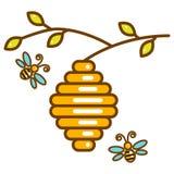 Vespiary mignon avec la ligne icône d'isolement d'abeilles illustration de vecteur