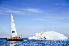 Vessel of the Arctic expedition in the waters of the Arctic Ocean royalty free stock photography