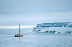Vessel of the Arctic expedition in the waters of the Arctic Ocean. Coast of the Arctic Ocean, Russia - December 14, 2016: Vessel of the Arctic expedition in the stock images