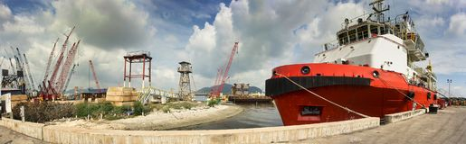 Vessel berthing at jetty royalty free stock image