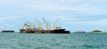 Vessel bulk cargo with crane Royalty Free Stock Image
