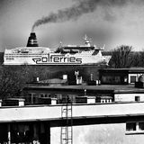 Vessel in the city. Artistic look in black and white. Royalty Free Stock Photos