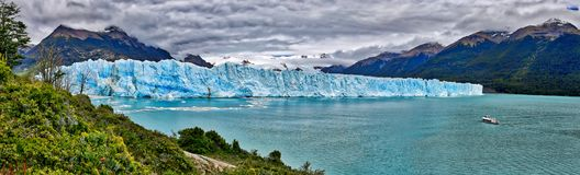 Perito Moreno Glacier at Los Glaciares National Park N.P. Argentina. Vessel in front of Perito Moreno Glacier at Los Glaciares National Park N.P. Argentina Stock Photos