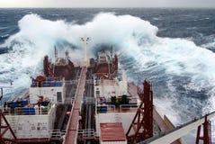 Vessel in heavy seas stock photos
