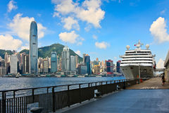 Vessel at Hong Kong sea terminal. Passenger vessel at Hong Kong sea terminal stock image