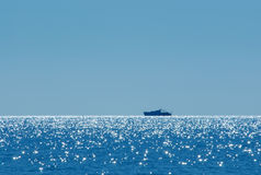 Vessel on horizon Royalty Free Stock Images