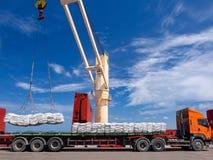 Vessel operation loading cargo onboard stock image