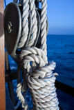 Vessel part with rope Stock Photo