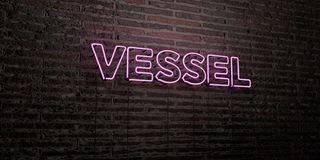 VESSEL -Realistic Neon Sign on Brick Wall background - 3D rendered royalty free stock image Royalty Free Stock Photography