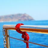 vessel safety rope and metal in the blue sky ocean mediterranean Royalty Free Stock Photography