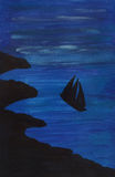Vessel at sea at night illustration Royalty Free Stock Image