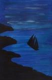 Vessel at sea at night illustration Royalty Free Stock Image