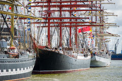 Vessel `Sedov` docks in Klaipeda during Tall Ship Races 2017 Stock Photography