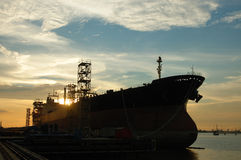 Vessel silhouette. Vessel moored royalty free stock images