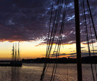 Vessel silhouette harbour Royalty Free Stock Photography