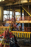 Vessel snatching at platform. Platform crew standby for transfer to offshore vessel during operation at angsi oilfield area stock photo