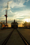 Vessel on track. Stationary vessel on track royalty free stock image