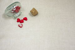The vessel with the tube. Closed love is in the vessel with a cork, to keep happiness for long Stock Image