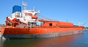 Vessel VENTURE Majuro. MONTREAL CANADA 08 30 2016: Vessel VENTURE Majuro ship is a self discharging bulk carrier built in 2002 and currently sailing under the Royalty Free Stock Image