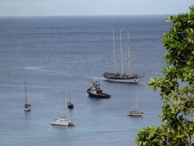 Vessels anchored in admiralty bay on bequia Royalty Free Stock Photos