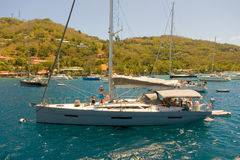 Vessels anchored at admiralty bay, bequia Royalty Free Stock Images