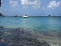 Vessels anchored in the windward islands stock footage