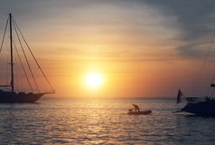 Vessels at Cala Saona in Formentera during sunset Royalty Free Stock Photography