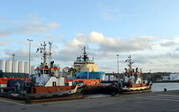 Vessels docked at Aberdeen Harbour, Scotland Stock Photos