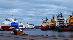 Vessels moored at Aberdeen harbour, Scotland Stock Photos