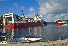 Vessels moored to quay in the port of halden Stock Images
