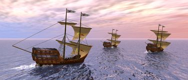 Vessels in the morning. A 3d rendering of three vessels in the morning Stock Photo
