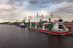 The vessels in port standing on unloading Royalty Free Stock Photo