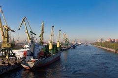 The vessels in port standing on unloading Stock Images