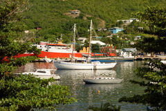 Vessels at rest in the shelter of admiralty bay, bequia Royalty Free Stock Images