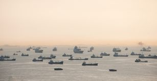 Vessels on road. Singapore strait. Stock Photos