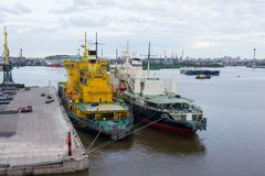 Vessels in Saint Petersburg Cargo Harbor Royalty Free Stock Image