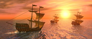 Vessels at sunset. A 3d rendering of three vessels at sunset Stock Photo
