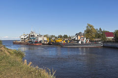 Vessels of technical fleet at the entrance to Belozersky bypass canal from the White Lake near the town of Belozersk Vologda stock photos